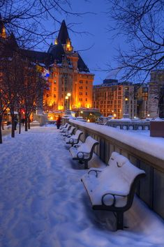 Snow in Chateau Laurier, Ottawa, Canada