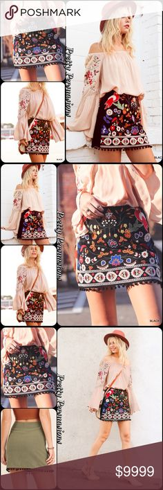 """LAST 2‼️Black Embroidered Pom Pom Boho Mini Skirt Available in S, M, L Measurements  Small Length: 15 & 3/4"""" Waist: 30""""  Medium  Length: 16 & 1/4"""" Waist: 32""""  Large Length: 16.5"""" Waist: 34""""  Cotton/Poly  Features • stunning multicolored bird floral embroidery on front • pom pom trim bottom hem • solid black back • lined • side zip closure • soft material  NOTE: butterfly pattern or green skirt not available & is only shown for style inspiration & to show fit.  Bundle discounts available No…"""