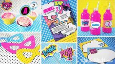 INSTANT DOWNLOAD,  Superhero Girl Pink Printable Party Package, You Edit Yourself in Adobe Reader. $35.00, via Etsy.