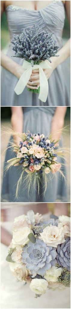Unique bouquets for a blue wedding