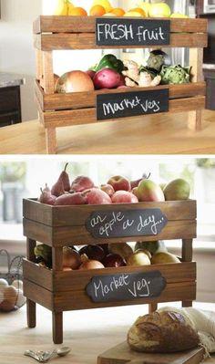 Riciclo creativo cassette della frutta - Porta frutta e verdura