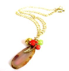 Glam & Boho Chic. Coral, gold and lemon green beads. Long goldplated chain. Statement trendy necklace.