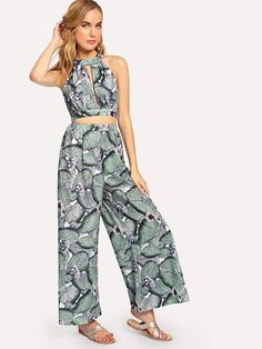 0eedbae70f Tropical Co-Ord Halter Crop Top & Palazzo Pants Matching Two-Piece Set