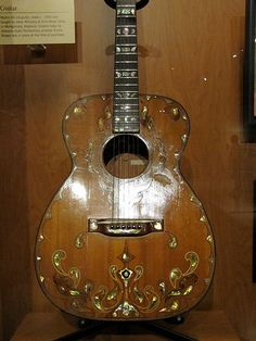 Who knew there was such history in the making....? | Martin 00-18 guitar, made c. 1950 and bought by Hank Williams at Art's Music Shop in Montgomery, Alabama. Custom inlay by Alabama State Penitentiary prisoner Erville Brewer was in place at the time of purchase.