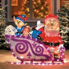 ProductWorks 42-Inch Rudolph Santa and Sleigh with Misfit Toys 2D Pre-Lit Yard Art 140 Lights