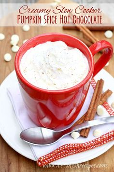Creamy Slow Cooker Pumpkin Spice Hot Chocolate on MyRecipeMagic.com