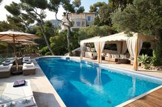 The pool at Villa Egerton on the Côte d'Azur, French Riviera.