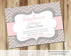 Chevron - Pink and Gray Grey - Baby Shower Invitation - Baby Girl - PRINTABLE Invitation Design on Etsy, $20.00