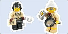 Lego stickers for cupcake toppers