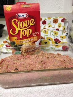 This is a awesome meatloaf! Meatloaf made with stove top stuffing. Gets rave reviews and SUPER easy. 1 Pound Ground Meat 1 Egg 1 Box Stuffing Mix 1 Cup Water Mix everything together, smoosh it into a loaf pan, and bake at 350 for about 45 minutes.