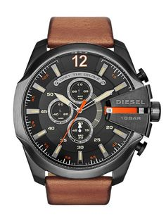 Diesel DZ4343 - In Stock! - This oversized men's Diesel Mega Chief watch has a black ion-plated steel case and is fitted with a chronograph quartz movement.