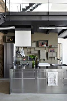 loft kitchen, love the old, blended in cabinets against the modern kitchen Loft Kitchen, Farmhouse Style Kitchen, Home Decor Kitchen, Kitchen Furniture, Kitchen Dining, Industrial Furniture, Industrial Kitchens, Industrial Lamps, Furniture Ideas