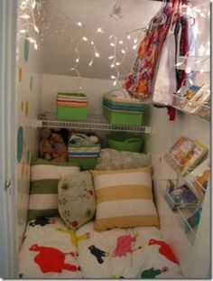Kid reading nook in Closet