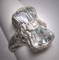 Vintage Aquamarine Diamond Ring Estate Art Deco Antique Wedding 1920 Bow and Basket Motif Wedding Rings Vintage, Vintage Engagement Rings, Vintage Rings, Diamond Bracelets, Diamond Bands, Cartier Bracelet, Art Deco Diamond Rings, Diamond Jewelry, Art Deco Jewelry