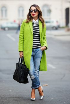 lime green coat with casual outfit