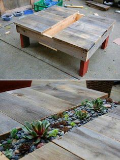 Table with planter/succulents made from pallets