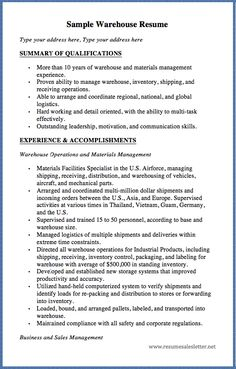 sample warehouse resume type your address here type your address here summary of qualifications more