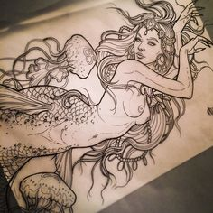 "samsmithtattoo:  ""samsmithtattoo:  "" Never sick of mermaids..or of boobs Belated Merry Christmas guys! (at Blackbird Electric)  ""  Whoa, thanks for the love internets.  ""  Reposting this again, because this drawing getting popular has been a friggin..."