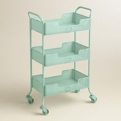 aqua blue metal 3 drawer mia rolling cart (everything turquoise