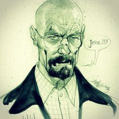 "@jscottcampbellart's photo: ""W.W. pencil sketch! Just got all caught up and couldn't resist a late nite doodle!! #breakingbad #walterwhite #heisenberg"""