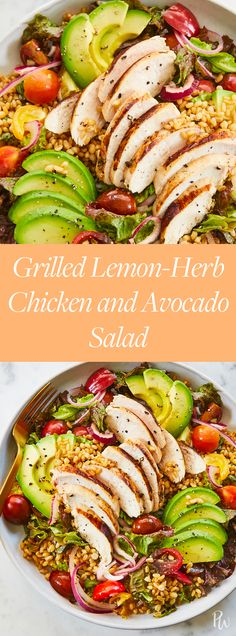 Grilled Lemon-Herb Chicken and Avocado Salad #purewow #grilling #recipe #dinner #cooking #chicken #food #salad