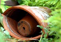 frog-house made with broken terracotta Green Garden, Garden Art, Garden Ideas, Garden Pond, Outdoor Gardens, Hanging Gardens, Outdoor Life, Outdoor Living, Frog Habitat