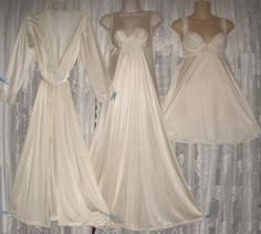 Vtg Ivory Olga Peignoir Robe Nightgown Babydoll Negligee Gown Set s M | eBay