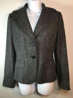 Women's ANN TAYLOR Lined Gray Tweed Wool Blazer Jacket Four 4 #AnnTaylor #Blazer