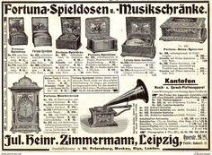 Original-Werbung/Anzeige 1907 - FORTUNA-SPIELDOSEN / KANTOFON / ZIMMERMANN LEIPZIG - Ca. 180 X 130 Mm - Werbung