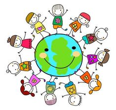 Illustration of happy kids playing around the earth planet vector art, clipart and stock vectors. Notes For Kids Lunches, Kids Sprinkler, Art For Kids, Crafts For Kids, Planet Vector, Dibujos Cute, Album Design, Wedding Card Design, Animation