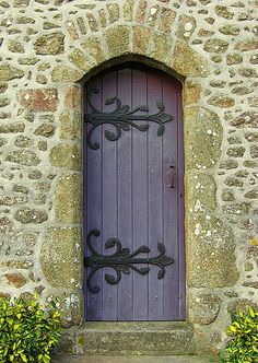 Beautiful old purple door with ironwork.