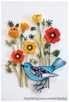 꽃보다 새에 반해서..^^ 새가 있는 그림자료를 선택해 과제를 했습니다. 꽃의 색도 새의 색도 이뻐서..색상...