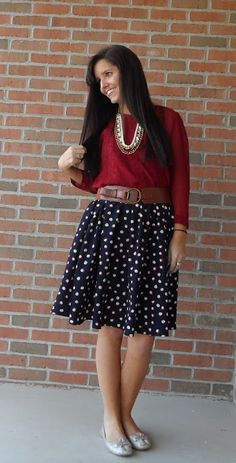 Classy In The Classroom: Back To Reality | black and white polka dot skirt, red top, layered necklace, cognav brown belt,