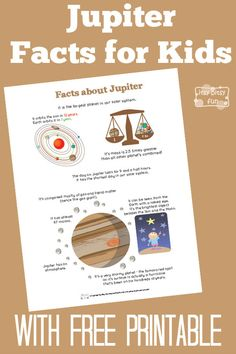 Use with Astronomy! Fun Jupiter Facts for Kids With Free Printables Jupiter Facts For Kids, Fun Facts About Jupiter, Jupiter Planet Facts, Science Projects For Kids, Science For Kids, School Projects, Solar System Facts, Planet Project, Solar System Projects