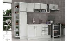 Cozinha Modulada Completa 7 Módulos Sem Pia Premium Branco/Desenho de Granito Alicante - Móveis Kochhann
