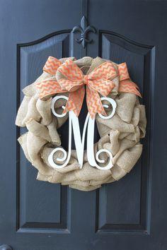 Items similar to Burlap Wreath - Fall Wreaths for door - Door wreath - Monogram Wreath - Summer Wreath - Door Wreath - Wreaths - Wreath - Wreath for door on Etsy Burlap Crafts, Wreath Crafts, Diy Wreath, Wreath Ideas, Wreath Hanger, Fall Crafts, Holiday Crafts, Diy Crafts, Seasonal Decor