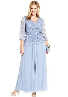 caac36f40 Alex Evenings Plus Size Three-Quarter-Sleeve Illusion Lace Gown Women -  Dresses - Macy s