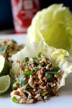 Super healthy lettuce wraps flavored with lime, chilies, green onion and cilantro. Low carb and ready in about 15 minutes!