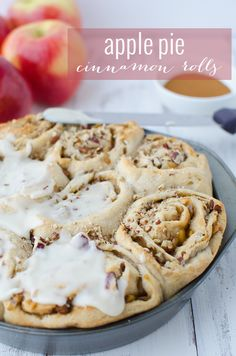 Vegan Apple Pie Cinnamon Rolls! The perfect holiday breakfast treat! Homemade apple pie filling layered in homemade cinnamon rolls.