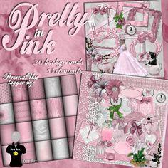 Pretty in Pink Digital Scrapbook Kit by DitzBitzKitz on Etsy
