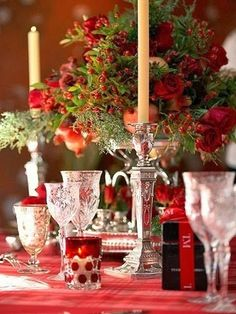Make Christmas Merry Christmas-Tablescape in red Christmas Table Settings, Christmas Tablescapes, Christmas Decorations, Table Decorations, Holiday Tablescape, Christmas Tabletop, Christmas Centerpieces, Flower Centerpieces, Holiday Decorating