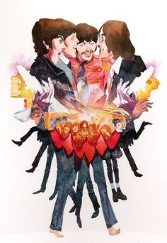 Beatlesmania by Hermann Mejia - Gallery Nucleus Rigor Mortis, Strawberry Fields Forever, Rishikesh, Great Bands, Cool Bands, John Lennon Paul Mccartney, Beatles Art, Rock And Roll Bands, The Fab Four