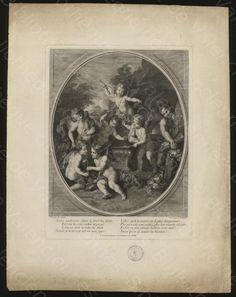 """Bibliothèque de Valenciennes, """"Les Amours forgerons"""", estampe, 18e siècle"""