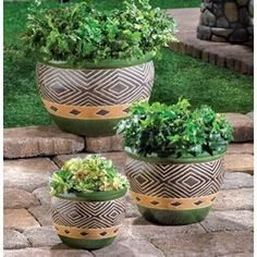 Jade Planters Trio. Elegant decorated flower pots in three different sizes fit anything. Jade color goes great with your favorite plants. Drain hole at the bottom of each flower pot.