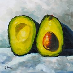 Avocado still life oil painting