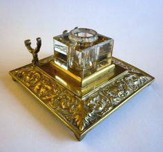 Hey, I found this really awesome Etsy listing at https://www.etsy.com/listing/232599210/antique-ink-well-brass-and-crystal-glass