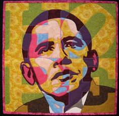 """This quilt is amazing--the designer, Jeanette Thompson, has an incredible eye for color (not the mention some of the most precise cutting skills ever!). I love the superposition of the word """"hope"""" over the president's image--it's subtle and beautiful."""