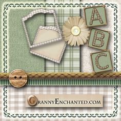"""GRANNY ENCHANTED'S BLOG: """"Sage Rope"""" Free Scrapbook Kit with Papers, Alphabet, and Embellishments"""