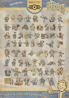 Vault Boy Fallout Perks Poster Medium - $21.94