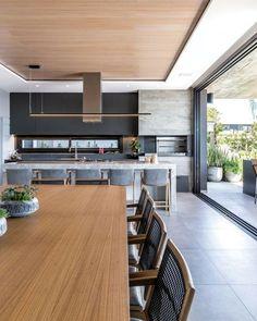 Open Plan Kitchen Living Room, Kitchen Room Design, Kitchen Dinning, Home Room Design, Modern Kitchen Design, Modern House Design, Interior Design Kitchen, House Extension Design, Sweet Home